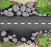 Asphalt road texture with white stripes. Top view. Vector illustration stock illustration