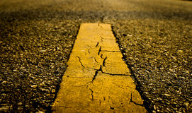 Asphalt road texture with yellow line Stock Photo