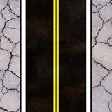 Asphalt road texture with yellow stripe Stock Photos