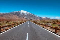Asphalt road to Teide volcan Tenerife, Canary Stock Image