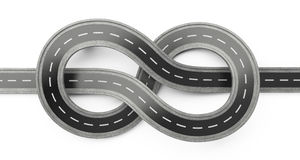 Asphalt road top view tied in a knot over white background. Royalty Free Stock Image