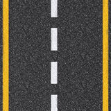 Asphalt road top view with white and yellow lines. 3d rendered asphalt road top view with white and yellow lines stock photography