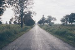 Asphalt Road Beside Trees and Grasses Under White Clouds Daytime Stock Photos