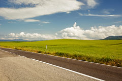 Asphalt road in Tuscany hills, Royalty Free Stock Photos