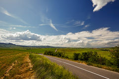 Asphalt road in Tuscany hills, Stock Image