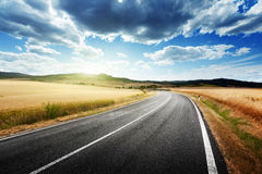 Asphalt road in Tuscany Italy Stock Images