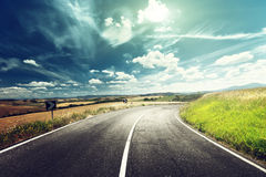 Asphalt road in Tuscany Royalty Free Stock Photography