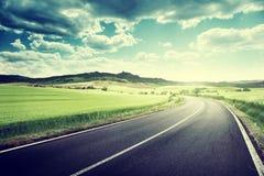 Asphalt road in Tuscany Italy Royalty Free Stock Image