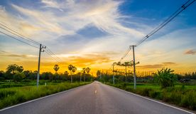 Asphalt road on twilight Royalty Free Stock Photography