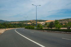 Asphalt road.Vietnam, Mui Ne, Asia royalty free stock images