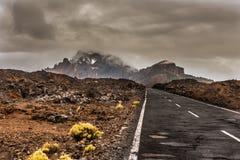 Asphalt road in volcanic desert Tenerife, Canary Stock Image