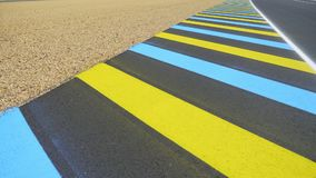 Asphalt Road With White and Colorful Stripes stock video