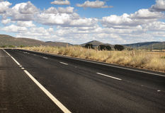Asphalt road and white line marking Stock Photo