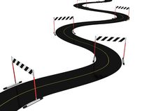 Asphalt Road With Many Hurdle Obstacle Barriers Royalty Free Stock Photos