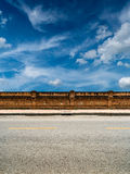 Asphalt road with yellow line Royalty Free Stock Images