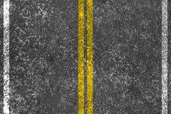 Asphalt road with yellow line Stock Photo