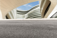 Asphalt roads and abstraction of modern architecture Stock Images