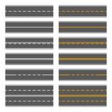 Asphalt Roads mit den gelben und weißen Linien Nahtloses Muster-Set Vektor Lizenzfreies Stockfoto