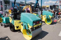Asphalt roller Ammann in the exhibition Construction Equipment and Technologies 2013  in Moscow Stock Photos