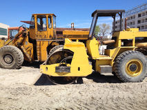 Asphalt roller machine construction site Stock Photos