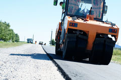 Asphalt roller paving Royalty Free Stock Photography