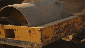 Asphalt roller rams land 1 stock video
