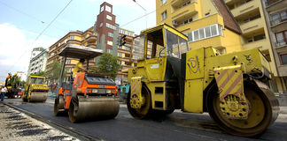 Asphalt roller in road construction site. In Sofia, Bulgaria Jun 13, 2007 Royalty Free Stock Photos