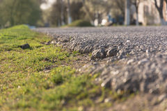 Asphalt rural road. Laying asphalt in the countryside Royalty Free Stock Photo