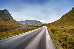 Asphalt curved road along mountain, Lofoten, Norway Royalty Free Stock Photo