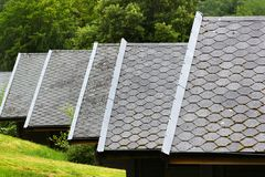 Asphalt shingle on a pitched roofs.  stock images