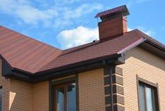 Asphalt shingles roofing construction, repair. Problem Areas for House asphalt shingles Corner Roofing Construction Waterproofing. With roof gutter system royalty free stock images