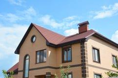 Asphalt shingles single-family house roofing construction, repair. stock images