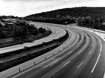 Asphalt snake. The way to sierra de guadarrama Royalty Free Stock Photos
