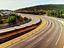 Asphalt snake. The way to sierra de guadarrama Royalty Free Stock Photography