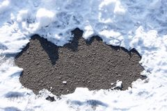 Asphalt between snow drifts Stock Photos
