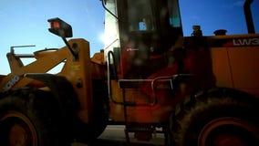 Asphalt spreader in work stock video footage