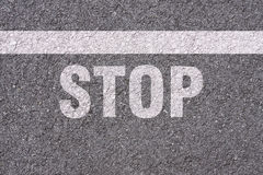 Asphalt - Stopping line Royalty Free Stock Image