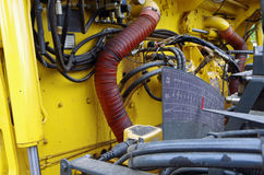 Asphalt street paving machine. Mechanical view of components Stock Photography