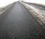 Asphalt street texture, snow road Royalty Free Stock Photos