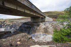 Asphalt tar road and bridge in Lesotho. Royalty Free Stock Image