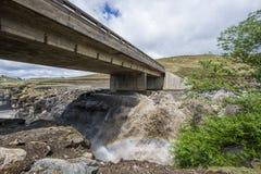 Asphalt tar road and bridge in Lesotho. Stock Images