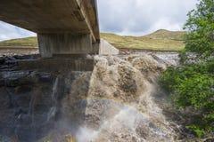 Asphalt tar road and bridge in Lesotho. Royalty Free Stock Photo