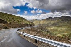 Asphalt tar road in Lesotho mountains Stock Image