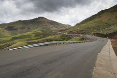 Asphalt tar road in Lesotho mountains Royalty Free Stock Photos