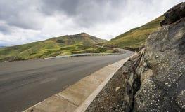 Asphalt tar road in Lesotho mountains Stock Photo