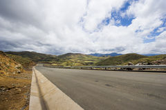 Asphalt tar road in Lesotho mountains Royalty Free Stock Images