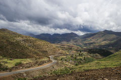 Asphalt tar road in Lesotho mountains Stock Photography