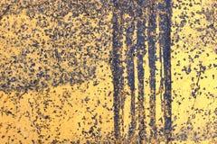 Asphalt Texture. Peeling yellow paint on asphalt surface Stock Photos