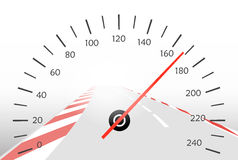 Asphalt track and speedometer Stock Image