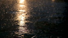 Asphalt under heavy rain during the night. With a streetlight reflection stock video